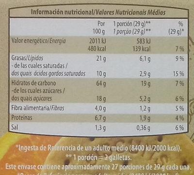 Galletas con soja, manzana y naranja - Informació nutricional
