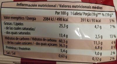 Brownie Cookies - Informació nutricional - es