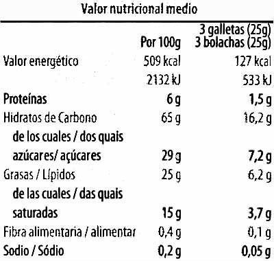Rosquilla con chocolate negro - Información nutricional - es