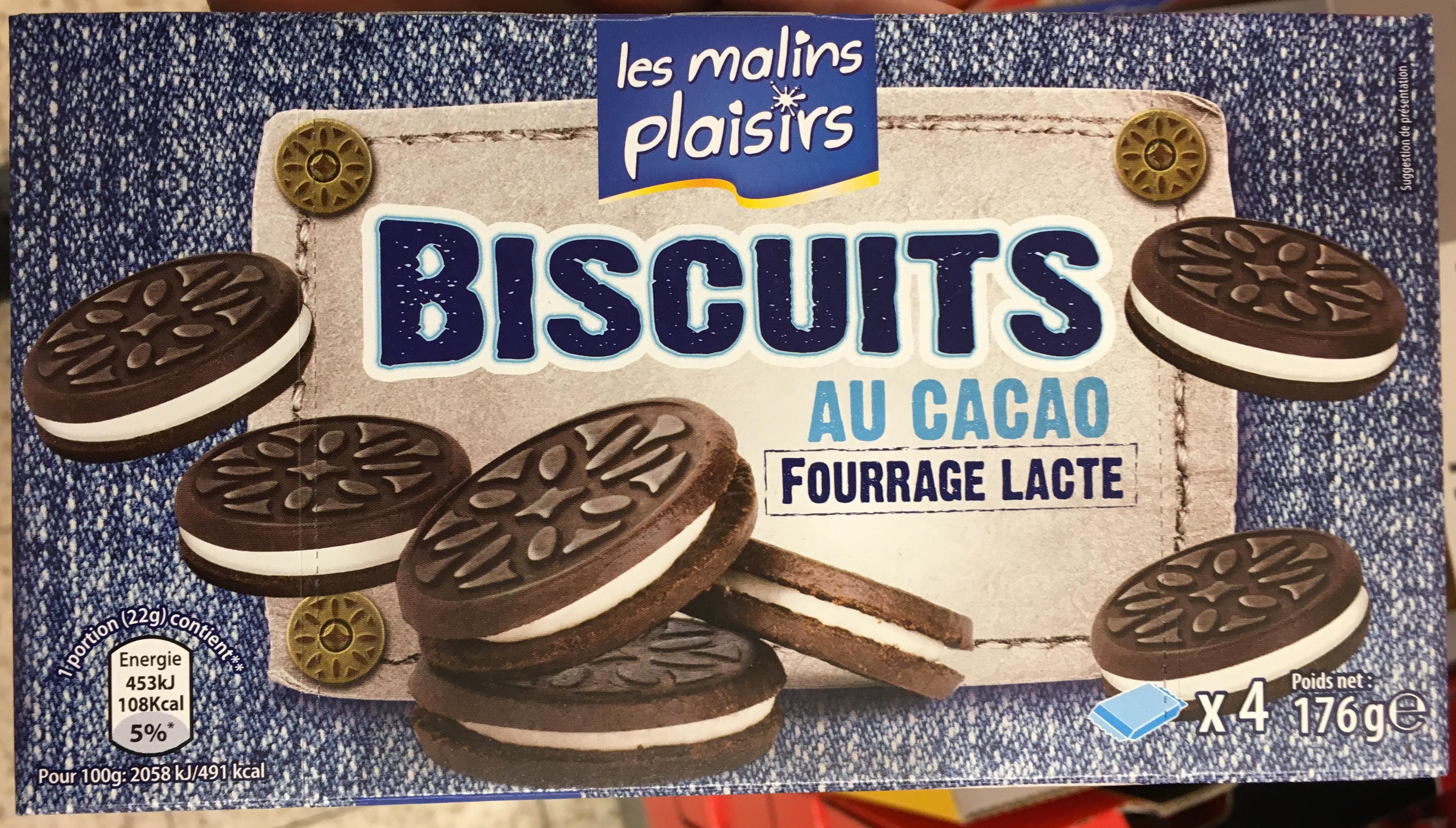 Biscuits au cacao fourrage lacté - Product - fr