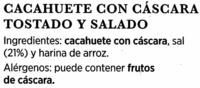 Cacahuetes con cáscara tostados con sal - Ingrédients - es