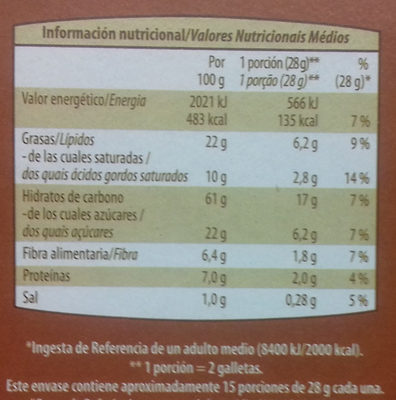 Galletas Digestive Avena - Información nutricional