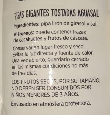 Pipas Gigantes Tostadas AguaSal - Ingredients