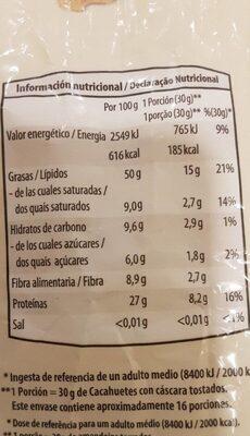 Cacahuetes con cáscara tostados sin sal - Informations nutritionnelles - es