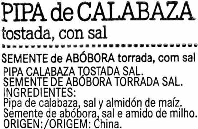 Pipas de Calabaza Tostadas - Ingredientes - es