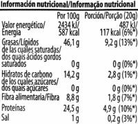 Pipas de Calabaza Tostadas - Información nutricional