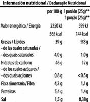 Patatas onduladas - Información nutricional