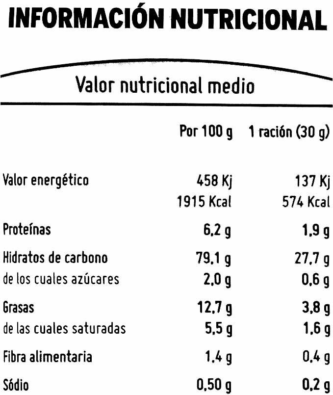 Aperitivo de maíz - Informations nutritionnelles - es