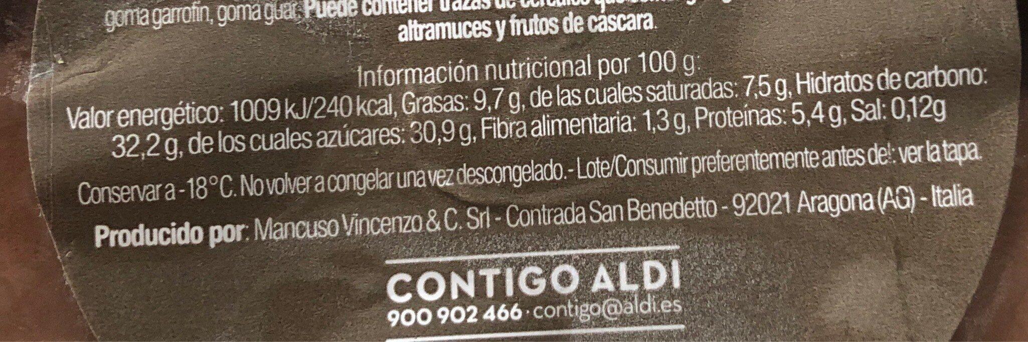 Helado de chiocolate - Informations nutritionnelles - es