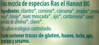 Ras el hanout o Tandoori (mismo codigo) - Ingredientes - es
