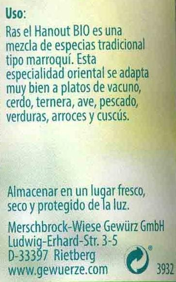 Ras el hanout o Tandoori (mismo codigo) - Información nutricional - es