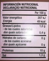 Navaja Americana entera - Informations nutritionnelles
