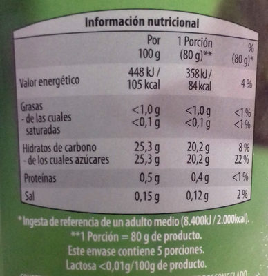 Capricho de café & maca - Información nutricional - es