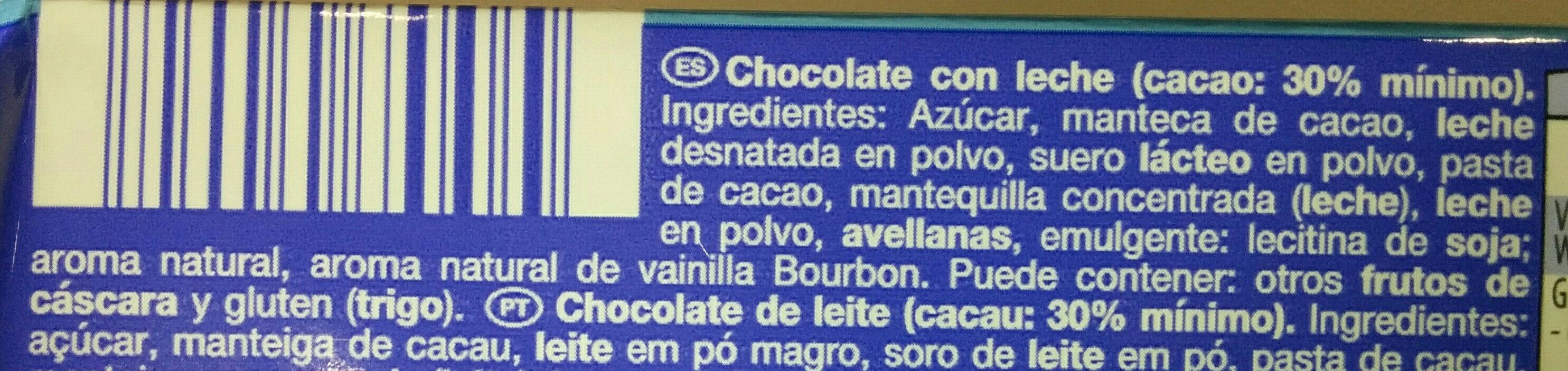 Milk chocolate - Ingredients - es