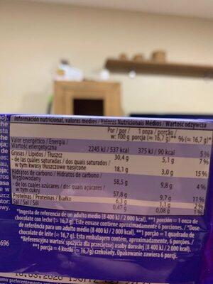 Milk chocolate - Nutrition facts - es