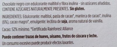 Chocolate negro 0% azúcares añadidos - Ingredientes - es