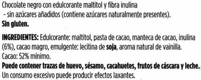 Tableta de chocolate negro sin azúcar - Ingredientes