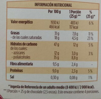 Chocolate con leche sin azúcares añadidos - Nutrition facts - es