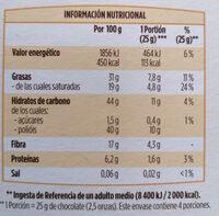 Chocolate negro 0% azúcares añadidos - Información nutricional - es
