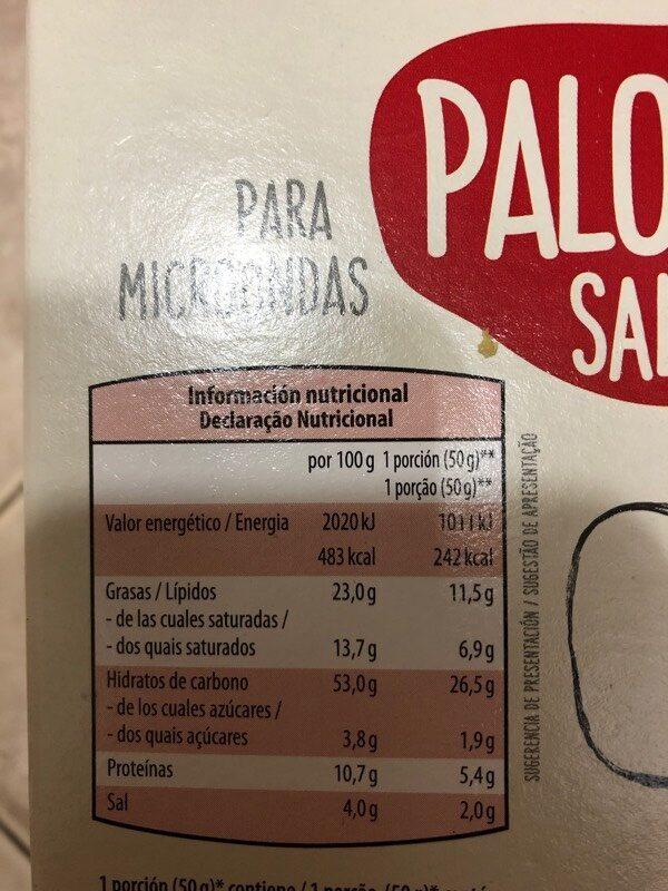 Palomitas saladas - Valori nutrizionali - es