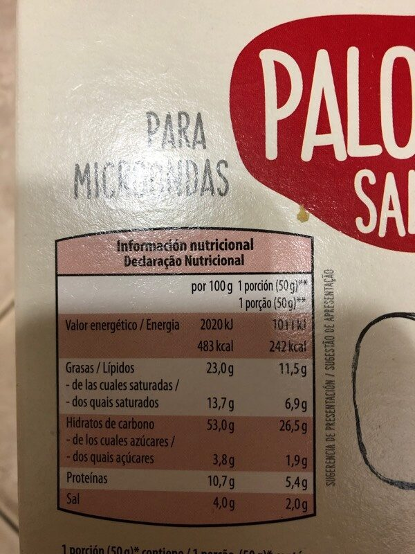 Palomitas saladas - Voedigswaarden