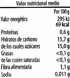 """Cerezas en almíbar sin hueso """"Altos Frutales"""" - Información nutricional"""