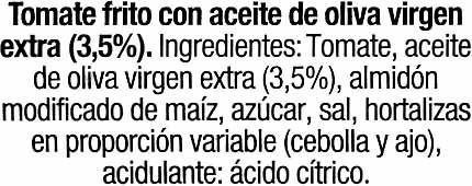 Tomate frito con aceite de oliva - Ingredientes