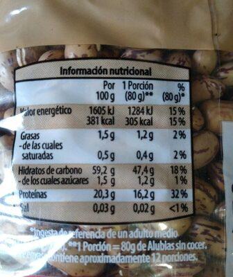 Alubias fabaderas pintas - Información nutricional - es