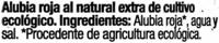 Alubias Rojas al Natural Extra - Ingredientes