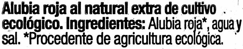 Alubias Rojas Cocidas - Ingredientes - es