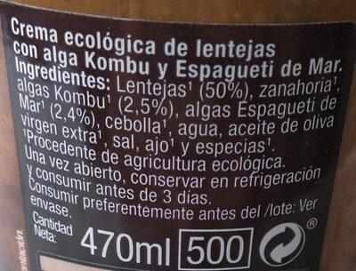 Crema ecológica de tomate - Ingredients