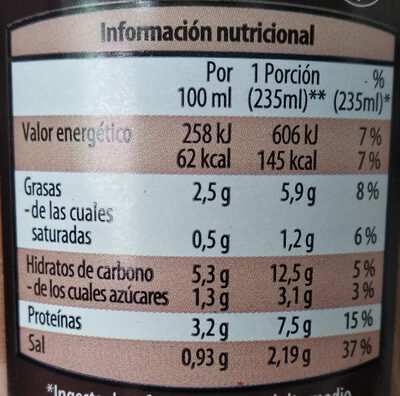 Crema ecológica de tomate - Nutrition facts