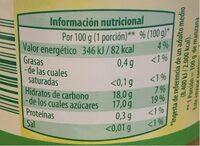 Compota de manzana - Informació nutricional - es