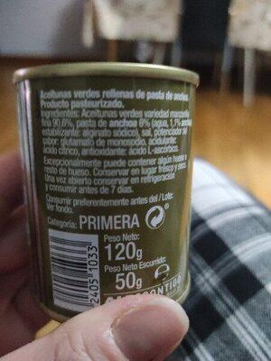 Aceitunas rellenas de anchoas - Ingredients - es