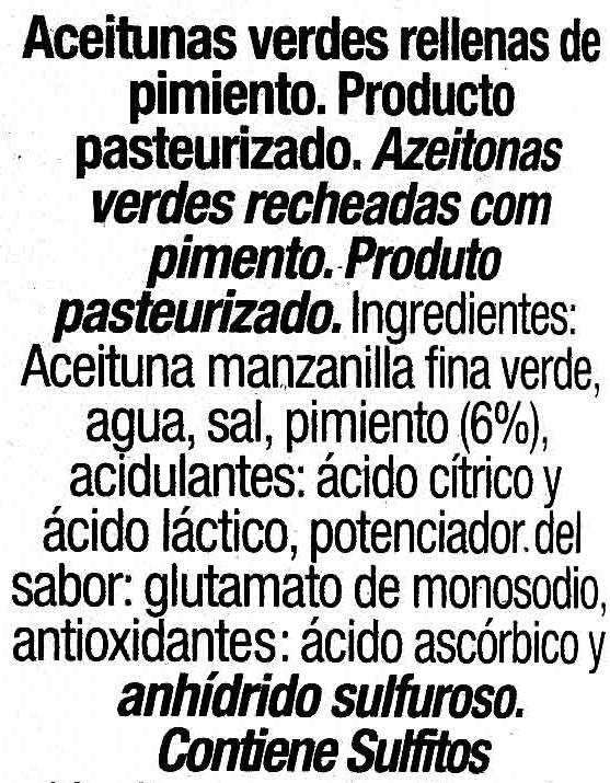 Aceitunas rellenas de pimiento - Ingredients