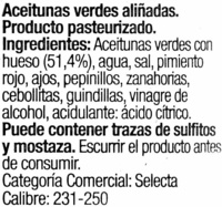 Aceitunas aliñadas Gazpacha - Ingredients - es