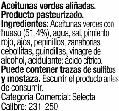 Aceitunas aliñadas Gazpacha - Ingredients