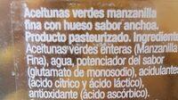 Aceitunas Manzanilla Sabor Anchoa - Ingredients - es