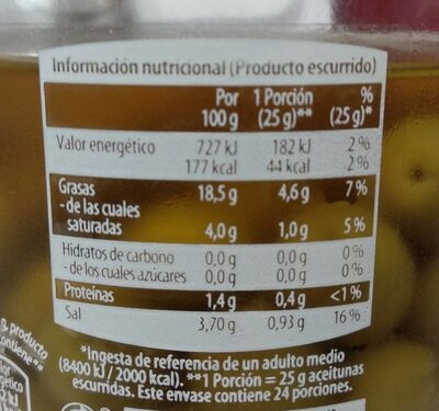 Aceitunas Manzanilla Sabor Anchoa - Informació nutricional - es