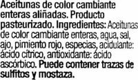 Aceitunas aliñadas Aloreña - Ingredientes
