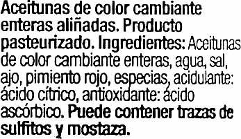 Aceituna gordal deshuesado aliñada - Ingredientes