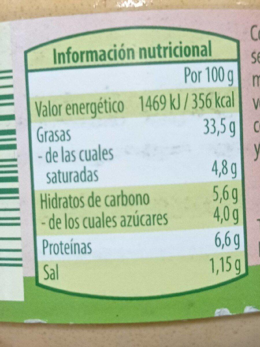 Crema vegetariana Curry Papaya - 180 gr - Voedingswaarden - es