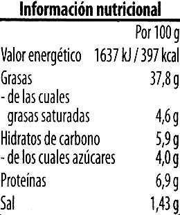 Crema vegetariana - Información nutricional