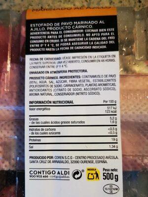 Estofado de pavo marinado al ajillo - Informations nutritionnelles - es