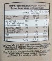 Risotto de Hongos - Informations nutritionnelles