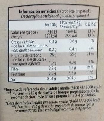 Cous cous mediterraneo / Risotto de Hongos - Informations nutritionnelles