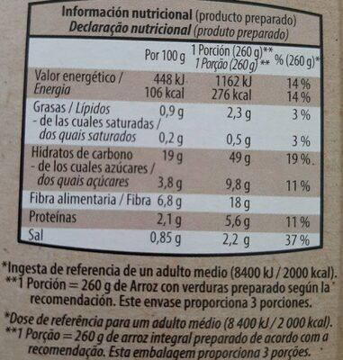 Arroz integral con Espárragos  Trigueros - Nutrition facts - es