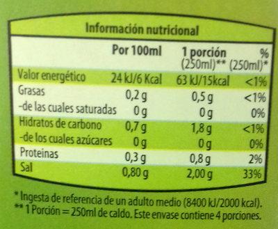Caldo de Verdura - Información nutricional - es