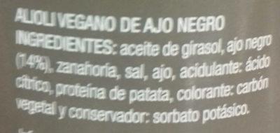 Alioli vegano ajo negro - Ingredientes - es