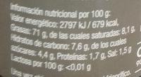 Alioli vegano ajo negro - Información nutricional - es